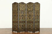 Spanish Colonial Antique Embossed 4 Panel Hand Painted Leather Screen 38691