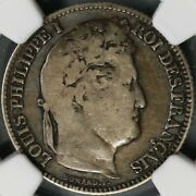 1840-k Ngc Vg10 France 1 Franc Louis Philippe Silver Coin 48k Pop 1/0 21090305c