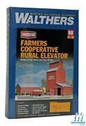 New Walthers Farmers Coop Rural Grain Elevator Kit Ho Scale Train Free Us Ship