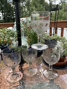 4 Epag Clear Crystal Pressed Glass Water Goblet Wine Glasses