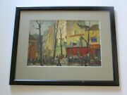 Oil Painting Original Vintage Street 1950and039s View City France Impressionist Old