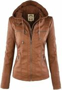 Womens Lady Leather Hooded Jacket Slim Parka Coat Overcoat Trench Winter Outwear