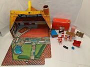 1960s Vintage Red Box Country Cottage Plastic Doll House Furniture Dolls Rare