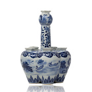 Chinese 19th Century Blue And White Tulip Bulb Vase