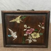 Chinese Antique Vintage Rosewood Inlaid Shell Jewelry Box Flowers And Birds Box