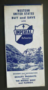 1954 Western United States Road Map Imperial Refineries Oil Gas