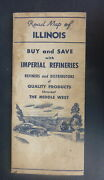 1946 Illinois Road Map Imperial Refineries  Oil Gas