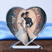 Customized Heart Shaped Photo Album Glass Ornaments Personalized Picture Pasting