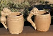 Vintage Ceramic Mugs Risque Nude Naked Woman Handle Pin-up Art Deco Cups