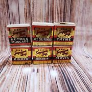 Lot Of 6 Rare Vintage Singapore's Best Pure Spice Tins Thyme, Cloves, Ginger Etc