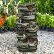 Outdoor Electric Ornament Fountain Waterfall Table Top Water Feature Led Lights