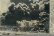 1947 Press Photo Smoke From Burning Oil Refineries Exploding Ship Texas