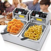 Commercial Deep Fryer With Baskets And Lids 12.7qt Electric Deep Fryer Kitchen