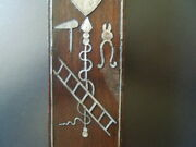 J3605 Antique Wood  Nice Mother Of Pearl Wall Hanging Cross See Desc