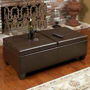 Alfred Brown Bonded Leather Storage Ottoman By Christopher Brown Oversized