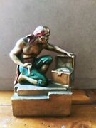 1920's Pompeian Bronze Co. Pirate And Chest Rare By Paul Herzel.