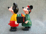 Old Vintage 1960s Disney Mickey And Minnie Mouse Marx Toy Ramp / Incline Walker