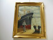 Emile Oil Painting Wpa Style Antique American 30 Nautical Industrial Ship Port