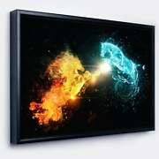 Designart And039fire And Water Abstract Horsesand039 Animal Framed Small