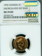 1992 Canada Cent Ngc Ms-70 Rd Mac Solo Finest Grade Spotless 1 In 10,000