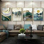 Gold Foil Lines Green Canvas Modern Abstract Arts Paintings For Living Room News