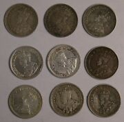 Lot Of 9 Different Canada King George V Sterling 5 Cent Coins 1911 To 1920 6458