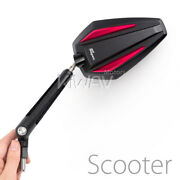 Aluminum Pair Mirrors Achilles Black + Red 8mm 1.25 Pitch Fits Piaggio Scooter