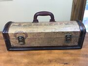 Vintage Style Wood Wine Carrying Case W/ Antique World Map Design And Handle