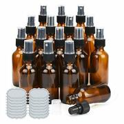 Ulg Small Amber Glass Bottles 2 Oz Spray Bottles With Diy Labels Brown 16-pack