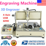 W/ Usb 2.2kw 4 Axis 6090 Router 3d Engraver Mill Drill Carving Machine+handwheel
