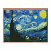 The Starry Night Of Van Gogh Cross Stitch Embroidery Diy Needlework Paintings