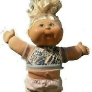 Cabbage Patch Kids Doll Chubby Face Green Eyes Polka Dot White Short Blonde Hair