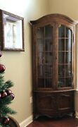 Pair 2 Of French Corner Cabinets -ash And Burl Andnbsp- Glass/wood Doors And Shelves