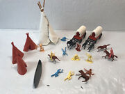 Vintage Plastic Cowboy And Indian Playset Teepees Covered Wagons Canoe Horses