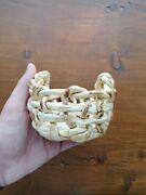 Vintage Handmade Ceramic Basket Statue From The Holy Land For Home Decoration