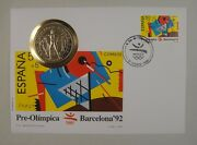 Gibraltar Coin And Spain Stamp First Day Cover Barcelona Olympics