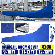 420d Sail Cover - Mainsail Boom Cover 9 To 13 Feet Waterproof Fabric Blue Boat
