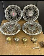 Set Of Vintage 80's Oldsmobile Real Wire Hubcaps With Locks And Key