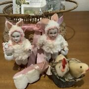 Rare German Mignonette Easter Bunny Antique Rabbit Chick From Japan Used