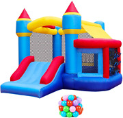 Retro Jump Inflatable Bounce House, Bounce Castle With Jumping Ball Pit And Basket