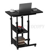 Adjustable Height Rolling Laptop Desks With 2 Shelves And Wheels Side Bed Ta