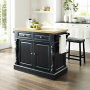 Oxford Butcher Block Top Kitchen Island In Black Finish With Black
