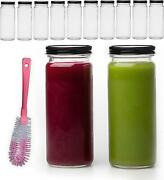 16 Oz Glass Bottles With Caps, 10 Juice Bottles Smoothie Cup Containers Metal