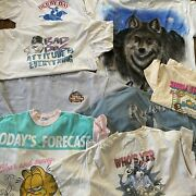Vintage 80s 90s 2000s Lot Of 8 Graphic Tees T-shirts Resale Big Dogs Garfield