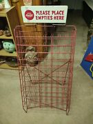 Vintage Collectible Coca Cola Advertising Wire Store Display Bottle Rack W/ Sign