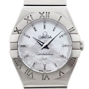 Omega Womenand039s Quartz Watches Constellation White Shell 123.10.24 Used