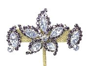 Signed Sherman Starfish Brooch And Clip Earrings 2-tone Purple Rhinestone Crystals