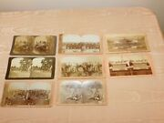 Vintage 8 Stereoview Cards Gettysburg Arlington Cavalry Whaling Infantry ++