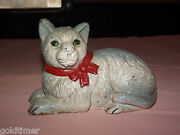 Vintage  Old Cast Iron Cat Coin Bank