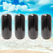 4 New Ribbed Boat Fenders 6 X 15 Black Center Hole Bumpers Mooring Protection